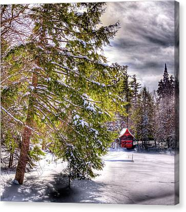 Canvas Print featuring the photograph The Secluded Boathouse by David Patterson