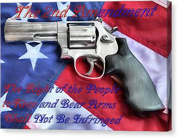 Canvas Print featuring the digital art The Second Amendment by JC Findley