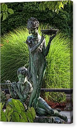 The Secret Garden Memorial Statue And Bird Bath Canvas Print