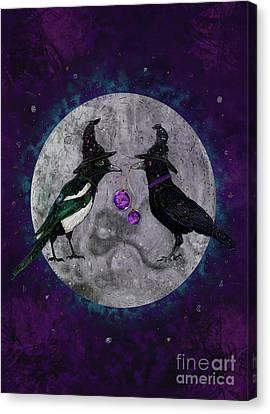 Halloween Artwork Canvas Print - The Secret Gathering by Francesca Rizzato