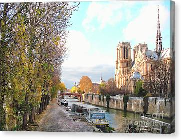 The Seine And Quay Beside Notre Dame, Autumn Canvas Print
