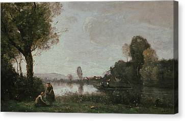 The Seine At Chatou Canvas Print by Jean-Baptiste Camille Corot