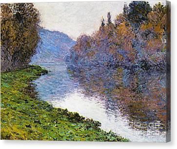 Dappled Light Canvas Print - The Seine At Jenfosse by Claude Monet