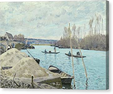 The Seine At Port Marly, Piles Of Sand Canvas Print by Alfred Sisley