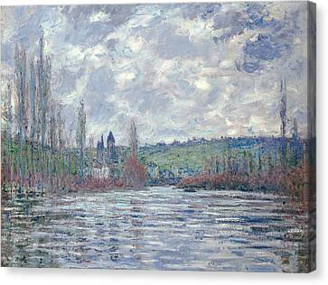 The Seine In Flood At Vetheuil Canvas Print by Claude Monet