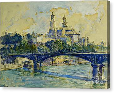 The Seine In Front Of The Trocadero Canvas Print by Henri-Edmond Cross