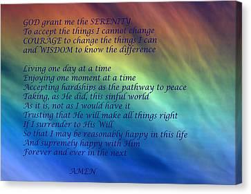 Christian Poetry Canvas Print - The Serenity Prayer by Debbie Oppermann