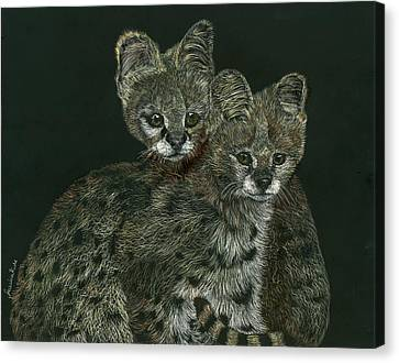 The Serval Twins Canvas Print by Jessica Kale