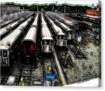 The Seven Train Yard Queens Ny Canvas Print by Iowan Stone-Flowers