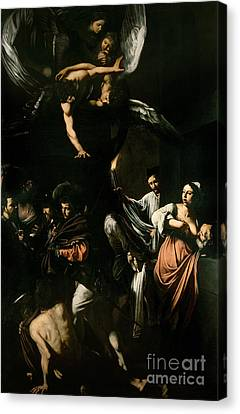 The Seven Works Of Mercy Canvas Print by Caravaggio