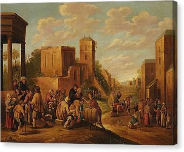 The Seven Works Of Mercy In A Village Landscape Canvas Print by MotionAge Designs