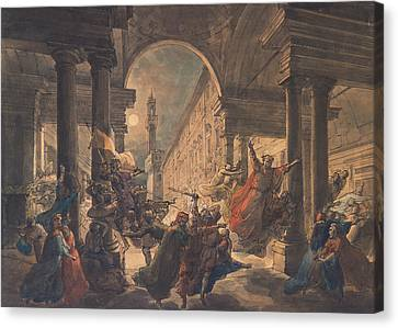 The Shadows Of The Great Florentine Men Protesting Against The Foreign Rule Canvas Print by Eugenio Agneni