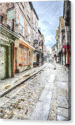 The Shambles York Snow Art Canvas Print by David Pyatt