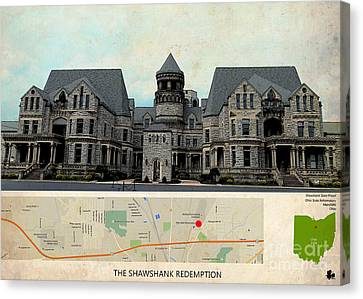 The Shawshank Redemption Film Location, Ohio Map  Canvas Print by Pablo Franchi