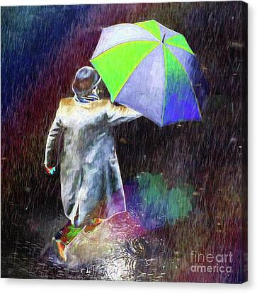 Canvas Print featuring the photograph The Sheer Joy Of Puddles by LemonArt Photography