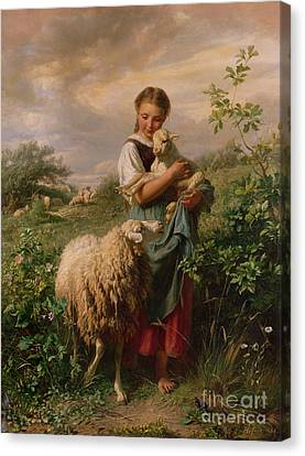 Children Canvas Print - The Shepherdess by Johann Baptist Hofner