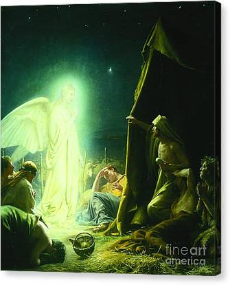 The Shepherds And The Angel Canvas Print by MotionAge Designs