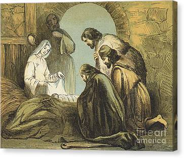 Nativity Canvas Print - The Shepherds Finding Jesus by English School