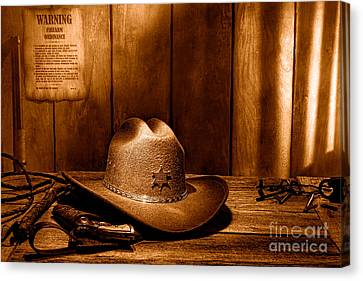The Sheriff Office - Sepia Canvas Print by Olivier Le Queinec