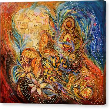 The Shining Of Jerusalem Canvas Print by Elena Kotliarker