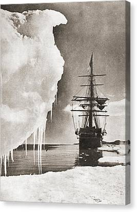 Terra Canvas Print - The Ship Terra Nova At The South Pole by Vintage Design Pics