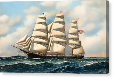 The Ship 'young American' At Sea Canvas Print