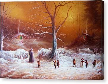 The Shire First Snowfall Canvas Print by Joe Gilronan