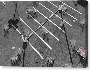 Grocery Store Canvas Print - The Shopping Cart Fiasco by Peter J Sucy