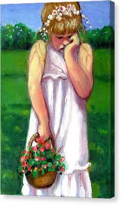 The Shy Flower Girl Canvas Print by Joyce Geleynse