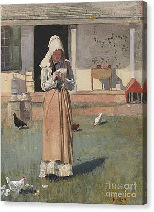 The Sick Chicken, 1874  Canvas Print by Winslow Homer