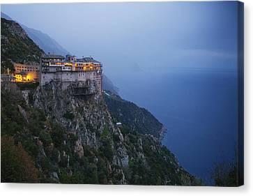 The Simonos Petras Monastery 800 Feet Canvas Print