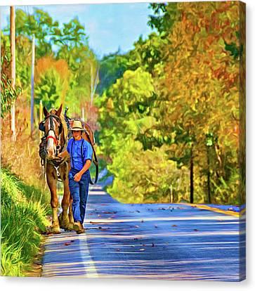 Plow Horse Canvas Print - The Simple Life 2 - Paint by Steve Harrington