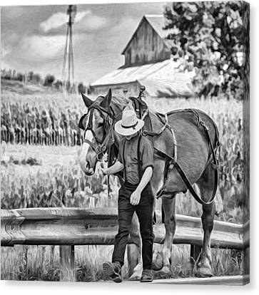 The Simple Life - Paint Bw Canvas Print
