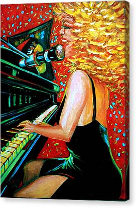 The Singer At Shuckers Canvas Print