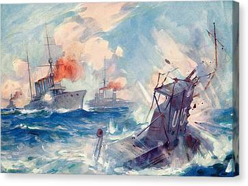 The Sinking Of A German U Boat After Being Rammed By The British Cruiser  Canvas Print by English School
