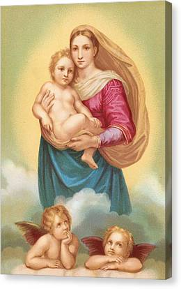 Madonna And Child Canvas Print - The Sistine Madonna by Raphael
