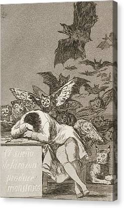 The Sleep Of Reason Produces Monsters Canvas Print by Francisco Goya