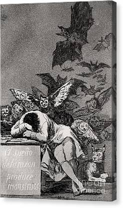 The Sleep Of Reason Produces Monsters Canvas Print by Goya