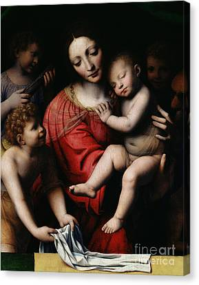 Madonna And Child Canvas Print - The Sleeping Christ by Bernardino Luini