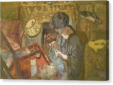 The Small Drawing-room - Mme Hessel At Her Sewing Table Canvas Print by Edouard Vuillard
