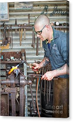 Canvas Print featuring the photograph The Smithy by Linda Lees