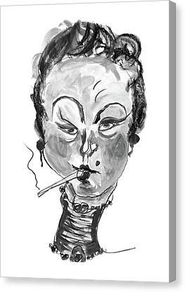 The Smoker - Black And White Canvas Print by Marian Voicu