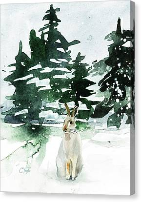Canvas Print featuring the painting The Snow Bunny by Colleen Taylor