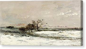 Snow Scene Canvas Print - The Snow by Charles Francois Daubigny
