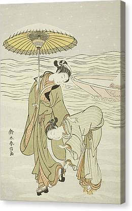 The Snow Clogged Geta Canvas Print by Suzuki Harunobu