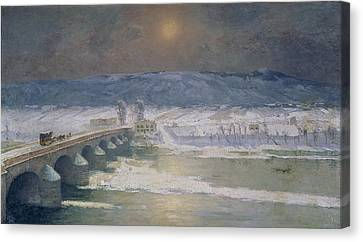 The Snow In The Auvergne Canvas Print by Albert Charles Lebourg