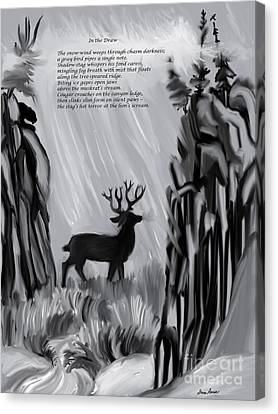The Snow-wind Weeps - Illustrated Poem Age 17 Canvas Print by Dawn Senior-Trask