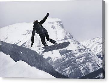 The Snowboard Championships Were Held Canvas Print by George F. Mobley