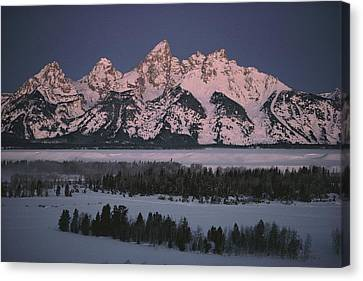 The Snowcapped Grand Tetons Canvas Print by Dick Durrance Ii
