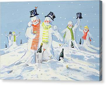 The Snowmen's Party Canvas Print by David Cooke